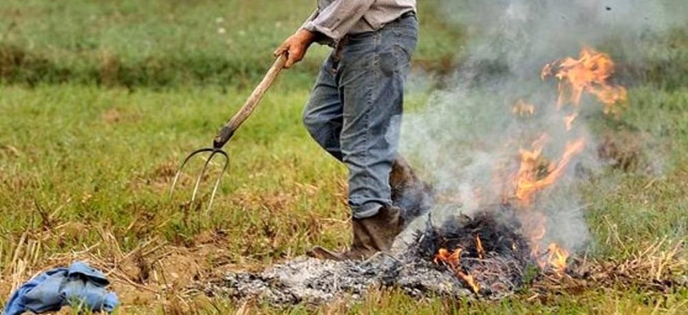 Un uomo brucia della sterpaglia e scoppia un incen...
